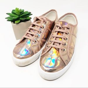 ASOS Devinelle Chunky Holographic Rose Gold Kicks